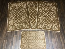 ROMANY WASHABLES GYPSY SETS OF 4PCS DARK BEIGE MATS NON SLIP TOURER SIZES RUGS